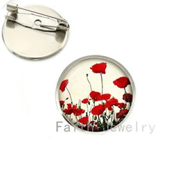 Wholesale Field Flowers - Wholesale- Wholesale charming Red Poppy brooches Field Of Poppies Flowers picture brooch pins Floral Art jewelry Mother's Day gift NS135