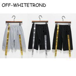 Wholesale Short Summer Beach Men - OFF-WHITETROND LIFE Shorts Summer Style Harajuku Religious Off White Shorts Streetwear Jogger Beach Gray Ribbon Off White Shorts