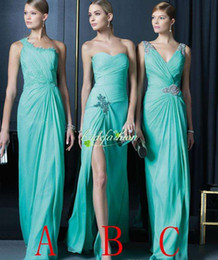 Wholesale Short One Shoulder Mint Dresses - 2017 New Arrival Mint Prom Dresses Under 100 A Line Chiffon Bridesmaid Dresses Cheap Pleats Mix order 3 style Brides Maid Dresses