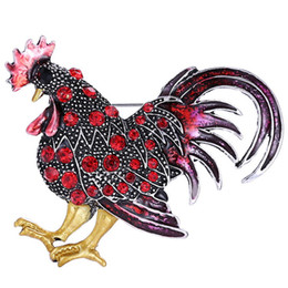 Wholesale Rooster Pins - 5 Pcs   Lot MultiColor Crystal Rhinestone Cock Chicken Rooster Animal Enamel Metal Brooch Pins Badge Jeans Bag Clothes Women Accessories