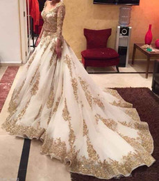 Wholesale Gold Embellished Wedding Dress - Wedding Dress V-neck Long Sleeve Arabic Bridal Gown Gold Appliques embellished with Bling Sequins 2017 Sweep Train Amazing Formal Gowns