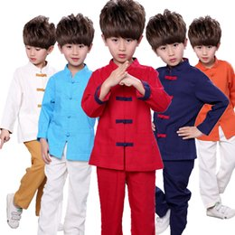 Wholesale Chinese Tang Suit Style Child - 5 colors Baby girls Boy's Outfit Set Chinese Style Retro Pankou Children Tang costume boys clothing sets kids tshirt two pieces suits