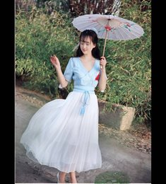 Wholesale Dress Improvement - Summer new Chinese antique improvement to have brought the hanfu hubble-bubble sleeve embroidery posed a long dress