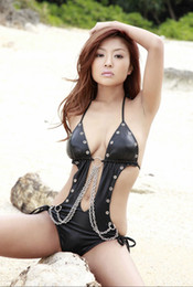 Wholesale Metal Chain Swimwear - Hot Sexy Faux Leather Women Teddy Halter Neck Bodysuit Metal Chain Backless Exotic Swimwear Lady Beachwear