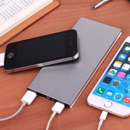 Wholesale Slim Port - Metal Slim Power Bank 20000mah Portable Mobile Battery Backup Charger 2 USB Ports Emergency Charger For Iphone 7 Samsung HTC Xiaomi Huawei