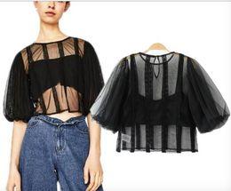 Wholesale Transparent Long Sleeve Shirt - European Style Summer Women Sexy Sheer Mesh Tops Long Sleeve Black T Shirt Transparent Cape Style Short T-shirts