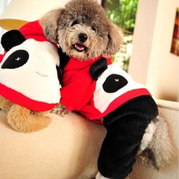 Wholesale Dog Costume Large - Thicken Coral Fleece Dog Suit Big Face Panda Fall Winter Pets Costumes Warm Easy Washing Anti Color Fading Non-Shedding 5 Sizes Dog Suit