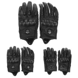 Wholesale Full Finger Armor - Wholesale- Men Motorcycle Gloves Outdoor Sports Full Finger Motorcycle Riding Protective Armor Black Short Leather Warm Gloves M L XL