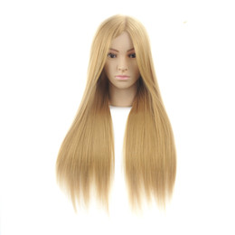 """Wholesale Wig Stand Clamp - 24"""" 100% High Temperature Fiber Long Hair Hairdressing Training Head Model with Clamp Stand Practice Salon Mannequin Head"""