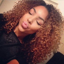 Wholesale Curly Hair For Sale - Hot Sale Chic Curly Hairstyle Ombre Color Afr Synthetic Hair Wig For Black Women