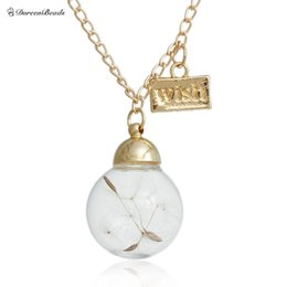 Wholesale Water Bottle Necklace - Wholesale-DoreenBeads 1PC Wish bottle necklace Real Natural Dandelion Seeds Water Drop Bottle Botanical Pendant long Necklace Gold Plated