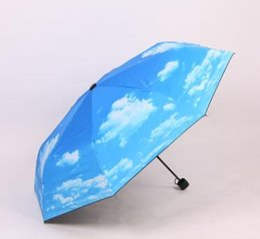 Wholesale Umbrella Uv Protection - Fantastic Anti-uv Sun Protection Umbrella Blue Sky White Cloud 3 Folding Gift Sunny Rainy Umbrellas