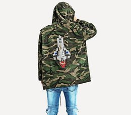 Wholesale Men S Military Overcoats - Rocket Camouflage men Overcoat Hooded embroided Jacket 2017 A W latest Camo Hip-hop Oversized Trench Military yeeus Jacket Baggy Coat