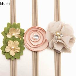 Wholesale Wholesale Skinny Headbands - 3pcs set Newborn headband skinny soft nylon headband chiffon flower girl headband With cardboard 8Colors TD17004