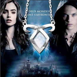 Wholesale gray metal south - The Mortal Instruments City of Bones Angelic Power Rune Pendant Necklace Silver Metal Chain Pendant Necklace Silver Plated Jewelry Accessory