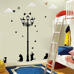 Wholesale Wall Art Kids Playroom - PVC 150x130cm hot sell lamppost cat wall stickers home decorations diy pvc decals childrens bed playroom mural art