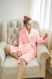 Wholesale Totoro Flannel - Wholesale- Cartoon Totoro flannel bathrobes Women thicken Robes Nightgown My neighbor Totoro sleepwear Loungewear 121504