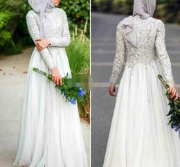 Wholesale Islamic Arts - Modest Muslim Evening Dresses Crew Neck Chiffon 2017 Long Sleeves Abaya Islamic Dubai Hijab Formal Evening Gowns Elegant White Prom Dresses