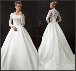 Wholesale court wedding dresses sale - Count Train Wedding Dresses Long Sleeve Iullsion Bodice Sexy Jewel Neck Covered Bottons Elegant Lace Appliques Wonderful Beautiful Hot Sale