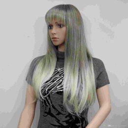 2019 новые золотые парики Новая мода очаровательная здоровье блондинка микс и золотой коричневый корень длинные прямые челки синтетические женские парики скидка новые золотые парики
