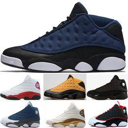 Wholesale Red Money Box - (with box) retro 13 men basketball shoes Low Chutney Navy blue Pure Money Chicago black cat DMP Flint He Got Game Playoffs Sneaker