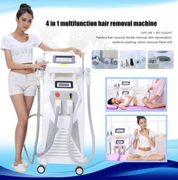 Wholesale tattoo removal light machine - 4in1 OPT E- light IPL RF YAG laser Hair Tattoo Removal Multi Function Beauty Machine for Multi Treatments