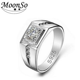 Wholesale Male Sterling Silver Wedding Ring - Wholesale- Moonso 925 Sterling Silver Rings for Men Wedding Engagement Jewelry Ring Men Ring fashion finger male jewelry R207