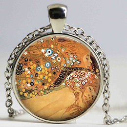 Wholesale Gustav Paintings - Gustav Klimt's Water Serpents Necklace Klimt Art Picture Pendant Vintage Great Painting Glass Cabochon Jewelry Women Kids Gift