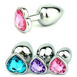 Wholesale Crystal Butt Plug Set - 3pcs set Small Middle Big Sizes Anal Plug Stainless Steel +Crystal Jewelry Anal Toys Heart Shape Butt Plugs Anal Dildo For Women and Men