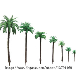 Wholesale Plastic Trees Model - 14pcs Railway Scenery Miniature Layout Model Plastic Green Palm Trees Coconut Model 1:50 Scale 1.9 inch