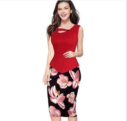 Wholesale Two Piece Bodycon Pencil Skirt - 2017 New European And American Fake Two Pieces Of Business Skirt Printing Stitching Pencil Skirt Pack Hip Dress