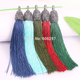Wholesale Silk Fill - 5Pcs Pave Rhinestone Long Silk Tassel Charms Pendants Jewelry in Mixed Color For Necklace