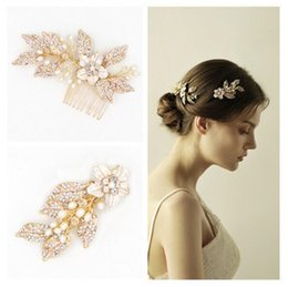 Wholesale Gold Flower Hair Comb - Vintage Wedding Bridal Rhinestone Leaf Hair Comb Flower Headpiece Crystal Crown Tiara Hair Clips Jewelry Gold Pearl Headdress Head Pieces