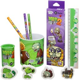 Wholesale A5 Gift Box - Wholesale-Plants VS Zombies Stationery Set 5Pcs Cute Cartoon Novelty Gift Box Pencil Sharpener Pencil Pen Holder Ruler for Kids Children