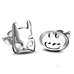 Wholesale Earring Superman - New Design Superman Batman Ear Stud YJY Fashion Silver Plated Women Jewelry Earrings Quality Women Stud Earrings Gift for Women