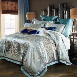 Wholesale Linen King Size Bedspread - Wholesale- Luxury jacquard silk bed linen blue red pink silver gold satin bedding set bedspread queen king size duvet cover sheet set 4pcs