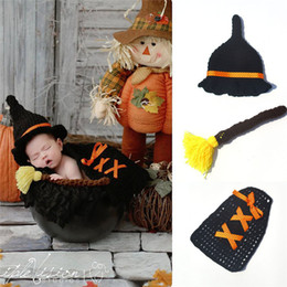 Wholesale Gothic Baby - Newborn Baby Costume Crochet Baby Cap Baby Shaman Photography Props Design Hat Newborn Photo Props Knitted BP085