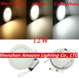 Wholesale Dhl Led Panel - Wholesale- Recessed LED Ceiling Downlight Light 12Watt Ultra Thin LED Panel Light with driver AC85-265V 20pcs lot, DHL Fedex free shipping