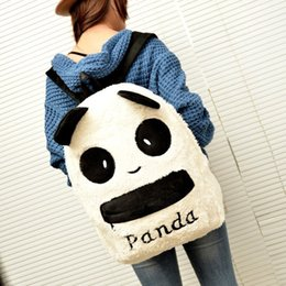 Wholesale Cute Panda Backpacks - Wholesale- Jasmine Traveling Panda Backpack Cute Bag Purse Animal Soft Ears Pom Poms Furry Zippers Bag Sep27