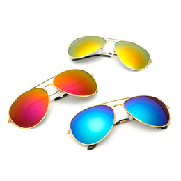 Wholesale Frame Protection Film - Sunglasses Colorful film anti-UV fashion glasses mirror Light goggles UV protection anti - shock anti - fog Bicycle sunglasses D0226