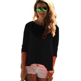 Wholesale Wholesale Sexy Lady Tee Shirts - Wholesale- 2016 hot sale hollow out tee shirt for women long sleeve casual sexy solid ladies moda female vetement famme t-shirts