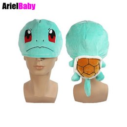 """Wholesale Figures Manga - New New Squirtle Rare Cosplay Cap Soft Plush Turtle Hat Anime Manga Kid Gift 10"""" Brinquedos Toy Juguetes"""