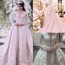 Wholesale Wedding Dresses Detachable Cathedral Train - Luxury Ball Gown Wedding Dresses 2017 Sexy Sheer Crew Neckline with Long Sleeves and detachable overskirts