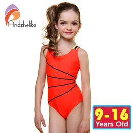 Wholesale Swimsuit Girls Child - Wholesale- Andzhelika 2017 Swimsuit Girls One Piece Swimwear Solid Bandage Bodysuit Children Beachwear Sports Swim Suit Bathing Suit AK8675