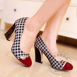 Wholesale Houndstooth Party Dress - 2015 Italian Shoe And Bag Set For Party In Women Gingham Plain Prom Dresses Houndstooth Cap Toe Sequined Large Size Womens Shoes
