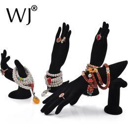 Wholesale Wholesale Hand Mannequins - Wholesale 4pcs Mannequin Hand Form Jewelry Display Bracelet Ring Necklace Stand Holder Rack Set Showcase Countertop Black Velvet