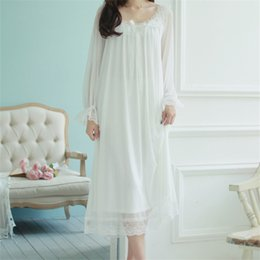 Wholesale Long Sexy Nighties - Wholesale- New Arrivals Autumn Sleepwear Solid Ladies Dresses Princess Long Sleeve Nighties Modal Lace Indoor Clothing Sexy Nightgowns #HH6