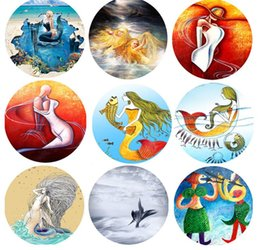 Wholesale Scarves Pastoral - Mermaid Beach Round Towel Mermaid Chiffon Blacket Towel Shawl Scarf for Summer beach Towel Blanket Mat 20 design 150cm KKA1643