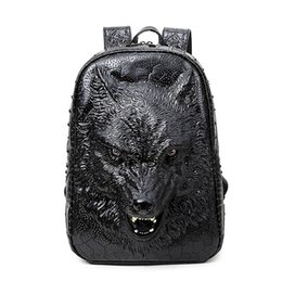 Wholesale Leather Laptop Bags For Women - Wholesale- 2017 new stylish backpacks 3D wolf head backpack special cool shoulder bags for teenage girls PU leather laptop school bags