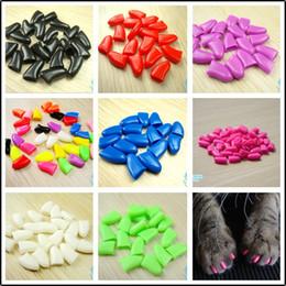 Copre l'artiglio online-14 Colori Morbidi Nail Caps Nail Covers Claw Paw Covers per Pet Kitten Dog con colla Claws Control Paws Glitter 20PCS / lotto C169S